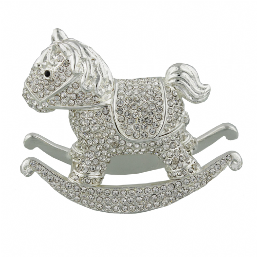 Rocking Horse Trinket Box & Luxury Cake Topper Gift New Baby and Christening Gift